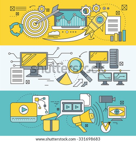 Concept search engine optimization. Analytic and analysis, development startup, diagram and statistic, management strategy, promotion project illustration. Set of thin, lines icons. Raster version - stock photo