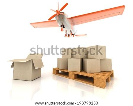 Concept. Shipping. Transport..3d render illustration - stock photo