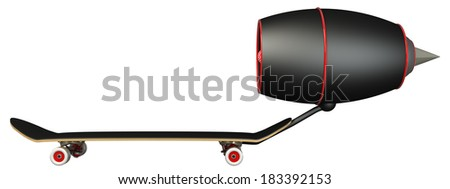 Concept. Skateboard turbine engines. isolated on white background. 3d - stock photo