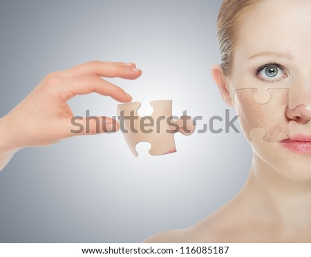 concept skincare with puzzles. Skin of beauty young woman before and after the procedure on a gray background - stock photo