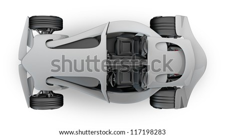 Concept  sport car (roadster) isolated on white (No trademark. This car is my own design) High resolution 3d render - stock photo