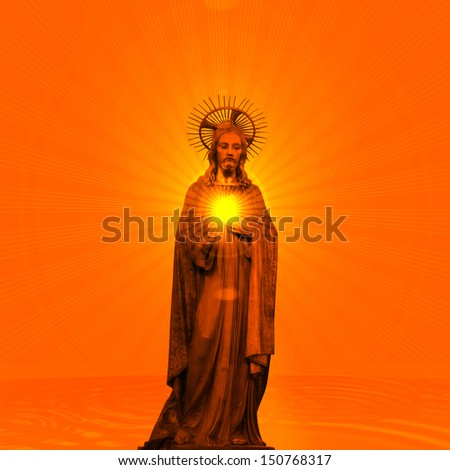 Concept statue of jesus religion,symbol,silhouette on background orange with sunset skies and sun rays,Christ,face,metaphor,religious,Jesus,faith,prayer,god,belief,church  - stock photo