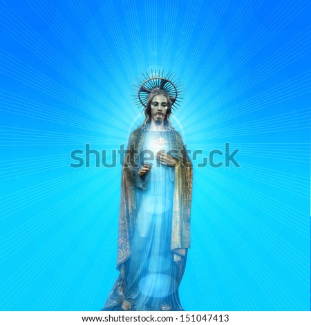Concept statue of jesus religion,symbol,silhouette on background with blue skies and sun rays,Christ,face,metaphor,religious,Jesus,faith,prayer,god,belief, church   - stock photo