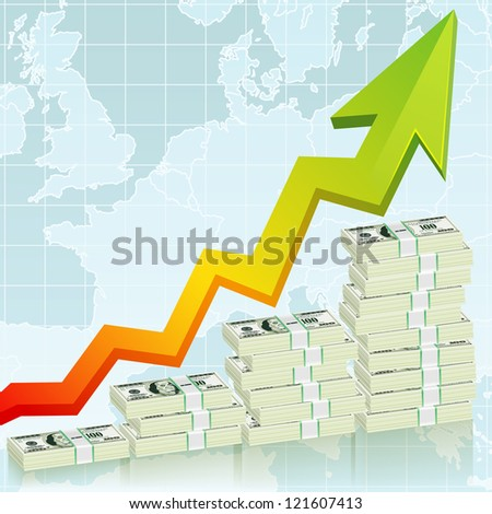 Concept Success in Business with Pack of Dollars and Graph, template for design - stock photo