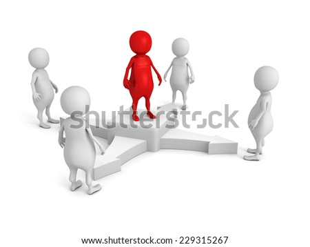 concept team leader in center of business 3d people group. 3d render illustration - stock photo