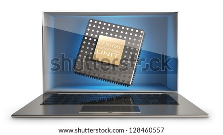 CONCEPT thin laptop with the three-dimensional screen and CPU inside. isolated on white background  High resolution 3D - stock photo