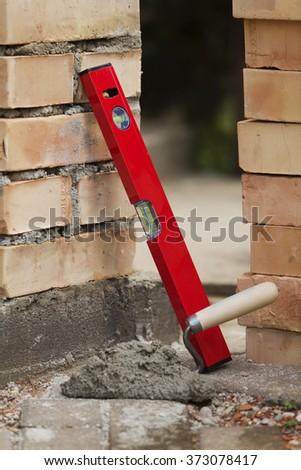Concept - tools masonry - stock photo