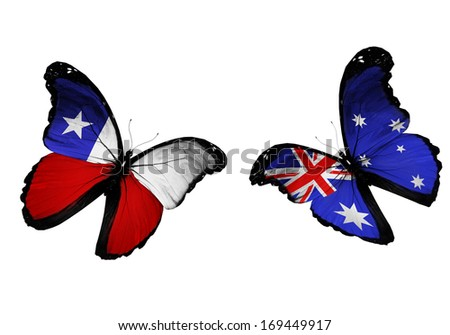Concept - two butterflies with Chile and Australia flags flying, like two football teams playing - stock photo