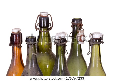 concept very old dusty bottles - stock photo