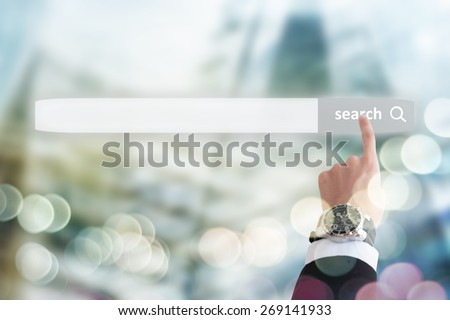 Concept web site creation, businessman holding search interface - stock photo