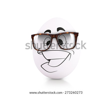 Concept white egg with emotions in clothes isolated on white - stock photo