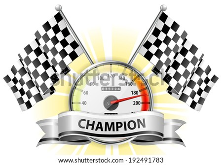 Concept - Winner, Champion. Detailed Car Speedometer with Flags and Ribbon, illustration - stock photo