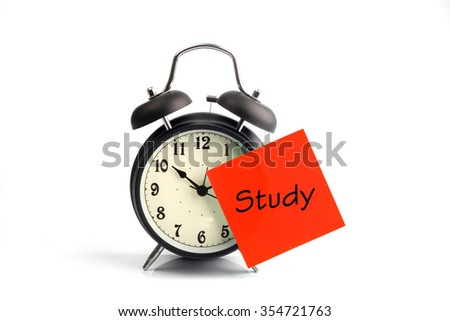 concept with alarm clock and red study adhesive note - stock photo