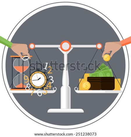 Concept with scales on one side time on the other money in circle frame for time management. Raster version - stock photo
