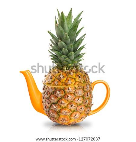 Concept yellow pineapple tea - stock photo