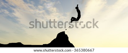 Concept young 3D man or businessman silhouette jump happy from cliff over  gap sunset or sunrise sky background banner  as metaphor to freedom, nature, mountain, success, free, joy, health risk - stock photo