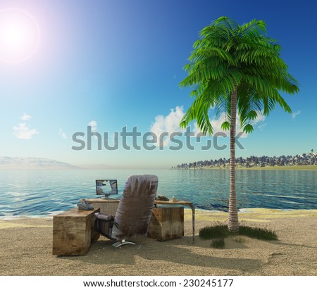 conception vacation background with office table and landscape - stock photo