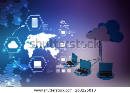Concepts cloud computing devices   - stock photo