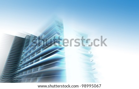 Conceptual architecture of the city in glowing colors - stock photo