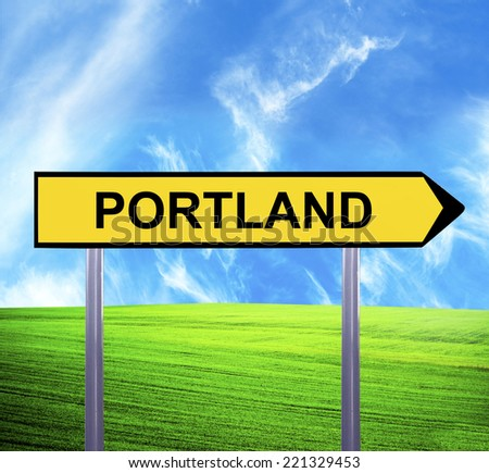 Conceptual arrow sign against beautiful landscape with text - PORTLAND - stock photo