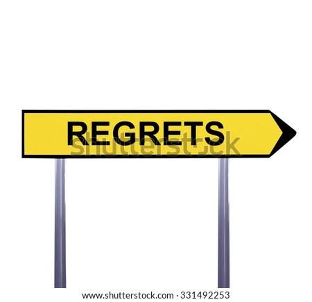Conceptual arrow sign isolated on white - REGRETS - stock photo