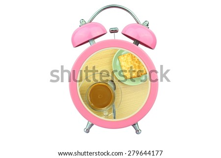 conceptual art : coffee time : coffee and biscuits within pink alarm clock isolated on white background - stock photo