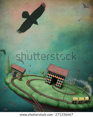 Conceptual background for poster or card with toy railroad - stock photo