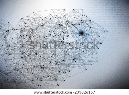 Conceptual background image with lines and binary code - stock photo