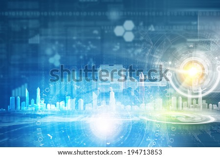 Conceptual background image with media icons on screen - stock photo