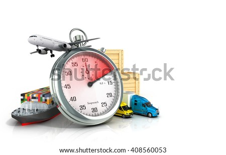 conceptual background of fast timely delivery 3d illustration - stock photo