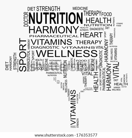Conceptual black tree made of health and nutrition text as wordcloud isolated on white background - stock photo