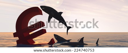 Conceptual bloody euro symbol or sign sinking in water or sea, with black sharks eating as metaphor or concept for crisis in Europe, ideal for financial, business or currency, money, depresion designs - stock photo