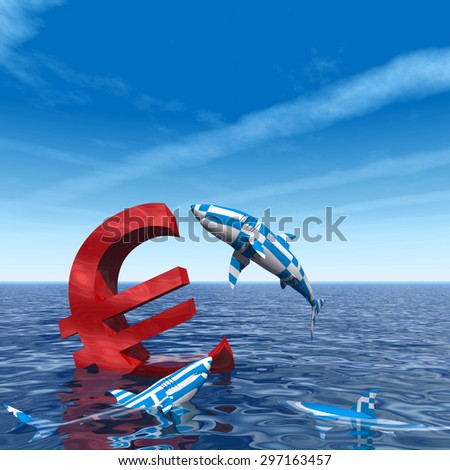 Conceptual bloody euro symbol or sign sinking in water or sea, with Greece sharks eating as a metaphor for crisis in Europe, ideal for financial, business or currency, money, depresion designs - stock photo