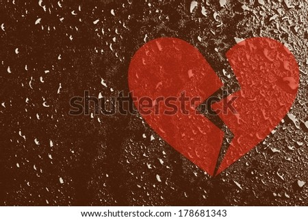 Conceptual broken heart and water drops - stock photo