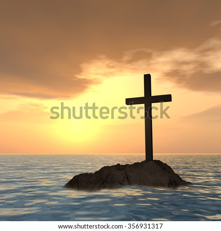 Conceptual Christian cross on a little rock island in the ocean or sea with waves and the sky at sunset metaphor for faith, religion, religious, belief, Jesus, Christ, spiritual or church - stock photo