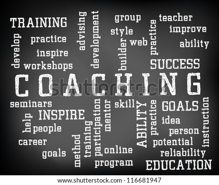 Conceptual coaching word cloud written on black chalkboard and white chalk. Presentation template. - stock photo