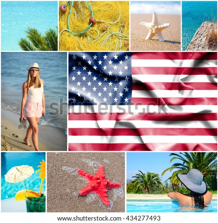 Conceptual collage of summer vacation in USA - stock photo
