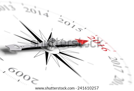 Conceptual compass with needle pointing the year 2016, black and red tones over white background. Concept image for illustration of future. - stock photo