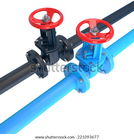conceptual composition with blue and black pipes and red valves isolated on white - stock photo