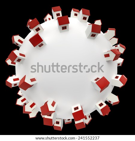 conceptual composition with white sphere and small stylized houses on it - stock photo