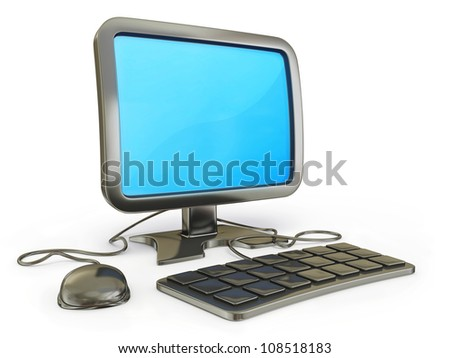 conceptual computer illustration isolated on a white background - stock photo