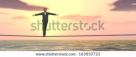Conceptual concept of 3D businessman or man in crisis walking in balance on rope over sunset sky and water background,metaphor to business,danger,risk,risky,finance,fall,dangerous,hazard or success - stock photo