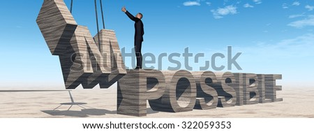 Conceptual 3D business man standing over abstract stone impossible text on sky banner background metaphor to success, career, work, job, achievement, development, growth, progress, vision, possible - stock photo