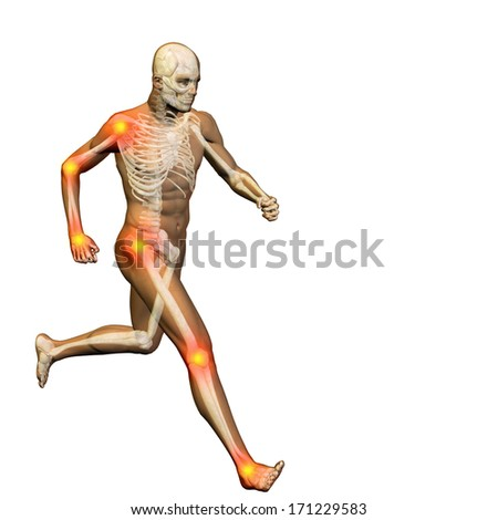 Conceptual 3D human man anatomy or health design, joint or articular pain, ache or injury isolated on white background - stock photo