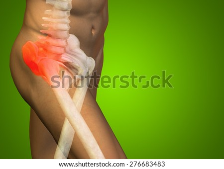 Conceptual 3D human man anatomy or health design joint or articular pain, ache or injury ongreen gradient background  for medical fitness medicine bone care hurt osteoporosis painful arthritis or body - stock photo