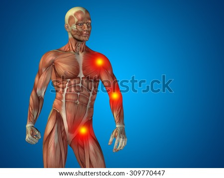 Conceptual 3D human man anatomy upper body or health design, joint, articular pain, ache, injury on blue background for medical, health, science, rheumatism, inflamation, injury, osteoporosis, disease - stock photo