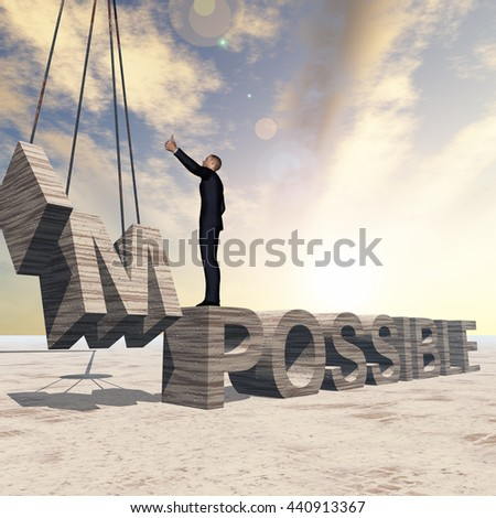 Conceptual 3D illustration of business man standing over stone impossible text on sunset sky background for success, career, work, job, achievement, development, growth, progress, vision, possible - stock photo