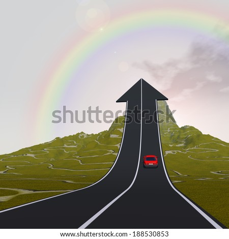 Conceptual 3D red car on arrow road pointing up, upward over a mountain to rainbow background, metaphor to success, business, future, transportation, progress, increase, growth, goal, top or challenge - stock photo