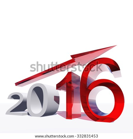 Conceptual 3D red 2016 year symbol with an arrow on white background for success, growth, graph, future, finance, financial, new year, holiday, increase, rise, date, career, forecast progress december - stock photo