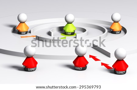 Conceptual 3D render image, suspect, lead and client characters in a sales funnel. Concept of leads generation . - stock photo